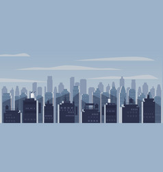 night city skyscrapers silhouettes houses vector image