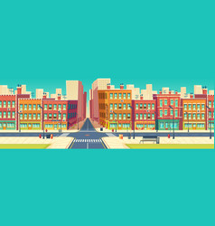 Old quarter street in modern metropolis vector