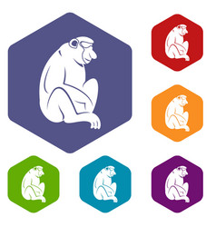 Orangutan icons set hexagon vector