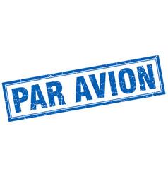 Par avion blue square grunge stamp on white vector