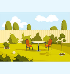 Patio area sunny back yard with green lawn fence vector
