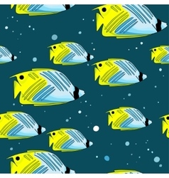 Pattern with bright green-blu fishes and bubbles vector