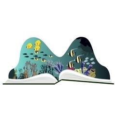 Pop-up book with underwater scenery vector