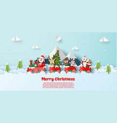 postcard christmas party on christmas train vector image