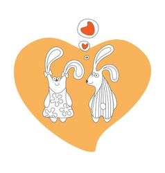 Rabbits in love cartoon isolated vector