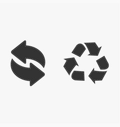 recycle icon black isolated on white background vector image
