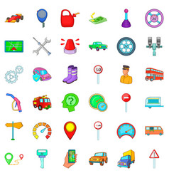 Road transportation icons set cartoon style vector