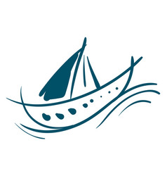 sailing boat painting or color vector image