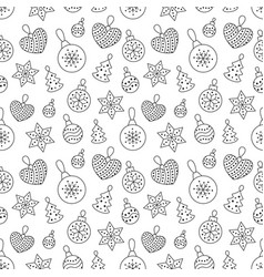 seamless pattern with black toy balls heart star vector image