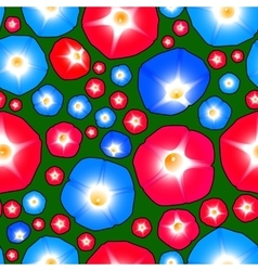 Seamless pattern with ipomoea flowers vector