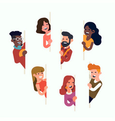 Set flat cheerful characters peeking from vector