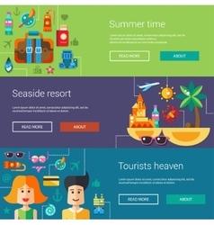set flat design flyers headers with summer vector image