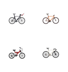 Set of bike realistic symbols with teenager track vector