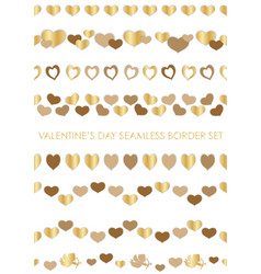 set of valentines day seamless borders vector image