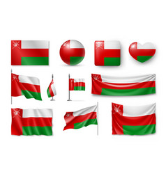 set oman flags banners banners symbols flat vector image