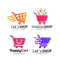 Shopping cart logo design template vector