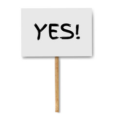 Sign banners with yes text on wood stick white vector