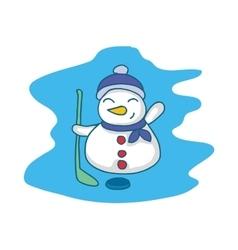 Snowman playing hockey cartoon Christmas vector image