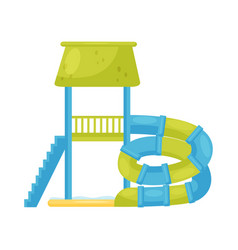 Spiral tube water slide with staircase and pool vector