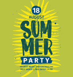 Summer party invitation announcement or flyer vector