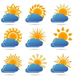 Sun and cloud icons set vector
