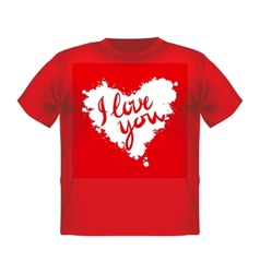T-shirt with a big red heart and background vector