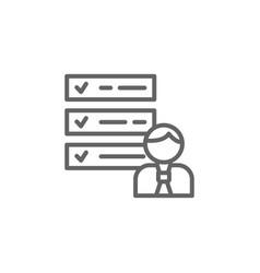 Tasks man outline icon elements business line vector