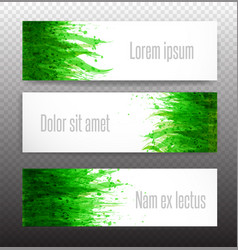 three banners with fresh green grass on white vector image