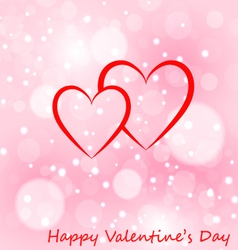 Two hearts greeting card with Valentines day vector image