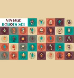 Vintage robots set flat style vector