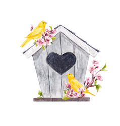 watercolor birdhouse with birds vector image