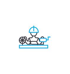 Weaving factory linear icon concept weaving vector