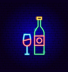 wine bottle and glass neon sign vector image