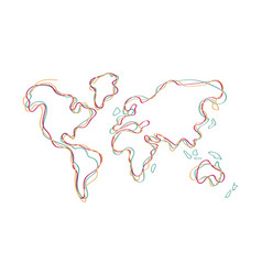 world map doodle color outline hand drawn art vector image