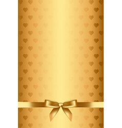 gold background with hearts and bow vector image vector image