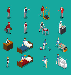 hotel staff isometric set vector image