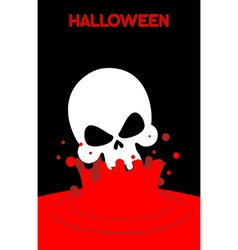 Skull falls into blood Splashes of red blood vector image