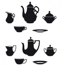 tea sets vector image
