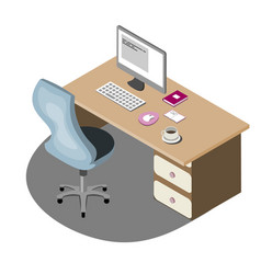 workplace empty isolated isometric vector image