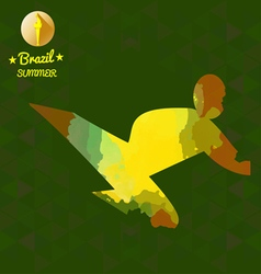 Brazil summer sport card with an yellow abstract s vector image