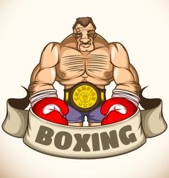 Professional boxer after a fight Emblem vector image