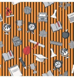 School seamless pattern on striped bacground vector image vector image