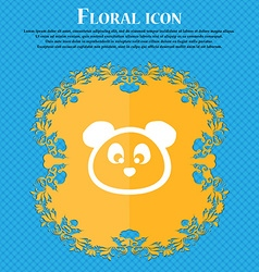Teddy Bear icon sign Floral flat design on a blue vector image