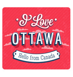 Vintage greeting card from ottawa vector