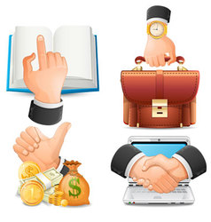 Achieve the goal in business handshake icons vect vector image vector image