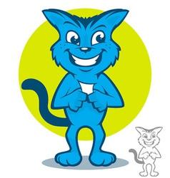 Blue cat cartoon vector
