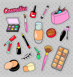 cosmetics beauty fashion makeup elements vector image