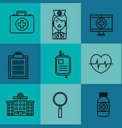 medical equipment supplies healthcare icons set vector image