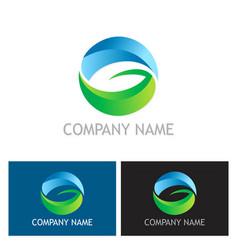 round letter g ecology leaf logo vector image