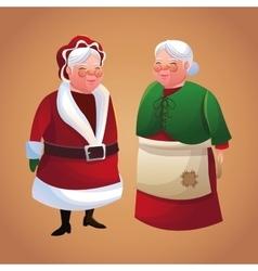 Santas wife cartoon of christmas season vector